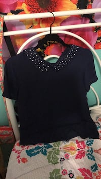 Navy Blue Sequence Collar Short Sleve Manchester, 37355