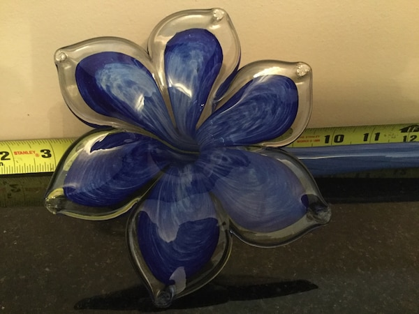 "MURANO Big 20"" Italian Hand Blown Long Stem Blue Glass Flower f4a2cb62-da9e-4ced-a7f2-00c2d47b4442"