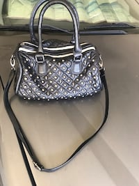 MG Collection Madra Gothic Skull Studded Quilted Bowling Top Handle Bag Black  Los Angeles, 91344