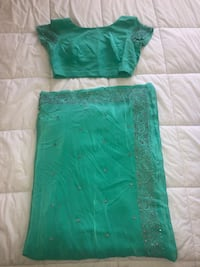 Turquoise & Silver Saree with Blouse Markham, L3R