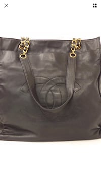 Black leather chanel tote bag