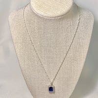 Sterling Silver & Sapphire Halo Pendant with Sterling Chain Ashburn, 20147