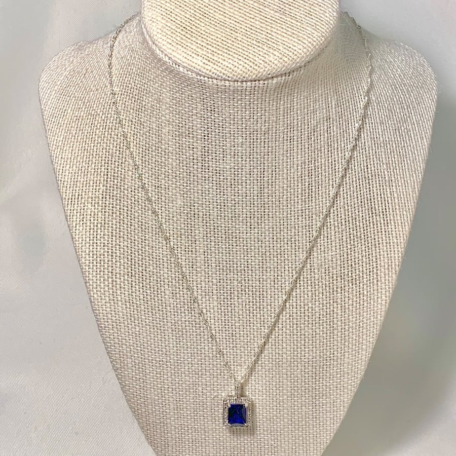 Genuine Sterling Silver Sapphire Halo Pendant with Sterling Chain 84239fed-7ce0-43cd-acec-2152f52c4f20