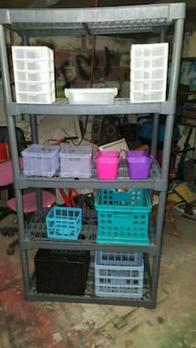 5 tier rack with containers