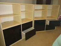 Shelf cases with drawers