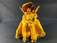 girl in yellow knit sleeveless flare dress doll