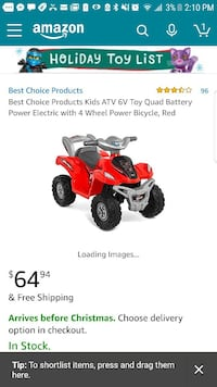 red and gray Best Choice Products Kids ATV 6V Toy Quad Battery Power Electric with 4 wheel power bicycle screenshot