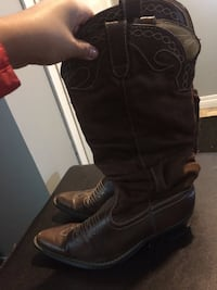 Pair of brown leather chunky-heeled cowboy boots Saskatoon, S7J 3H5