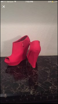 red zip open toe wedge booties Pensacola, 32505