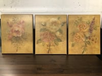 three brown wooden framed painting of flowers New York, 10024