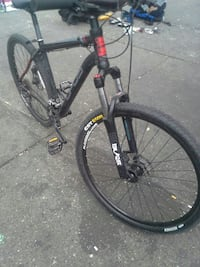 black and red hardtail mountain bike Vancouver, V6A 1K3