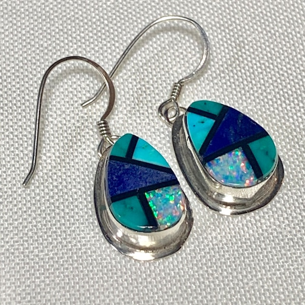 Genuine Navajo Sterling Silver Lapis Turquoise Opal Onyx Earnings 47316310-111f-404b-b9a9-62c3d8f323d1