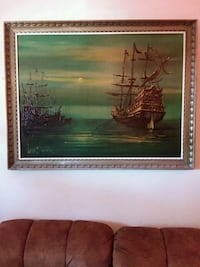 Original VINTAGE VANGUARD 45x35 PIRATE SHIP DRIP PAINTING BY FOUNDER LEE BURR Sioux Falls, 57104