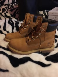 Pair of brown Timberland boots women's