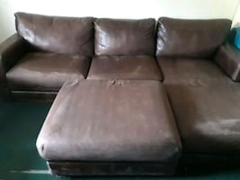 Nubuck Leather Sectional and Ottoman