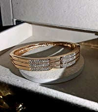 Golden Gemmed Locking Bracelet