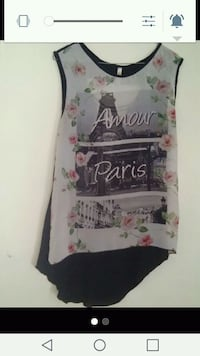 white, pink, and black floral Amour Paris sleeveless top screenshot 584 mi