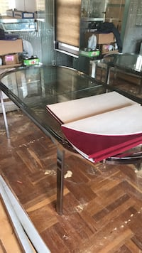 stainless steel framed glass top table New York, 11234
