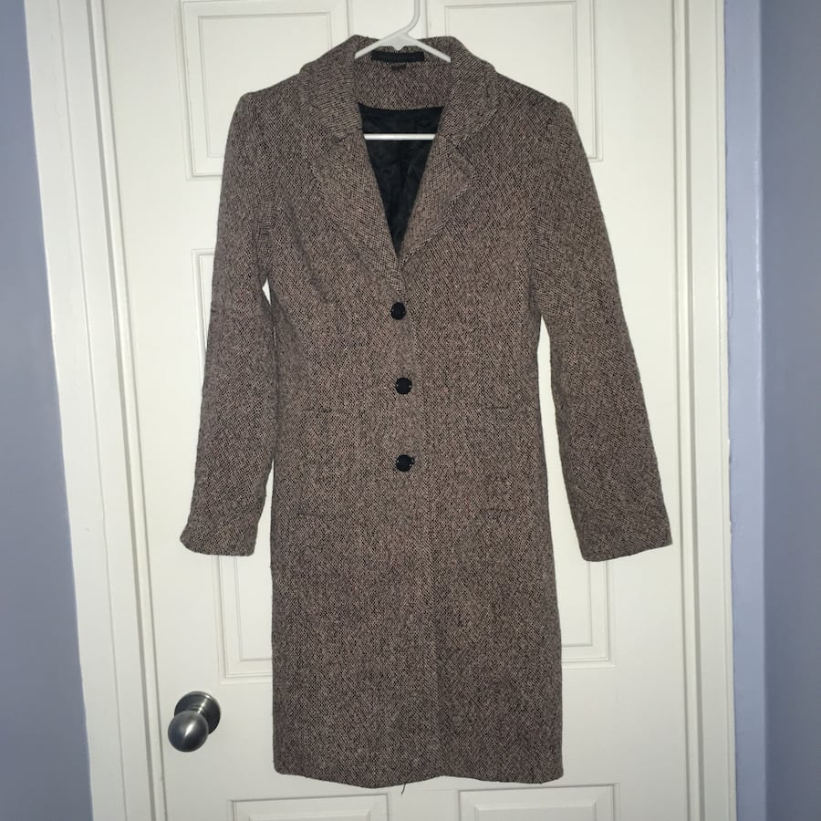 Express Design Studio Black/pink tweed wool blend pea coat, size small
