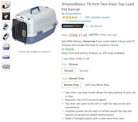 "Amazon Basics 19"" pet kennel carrier two door top loading. Toronto, M4V"