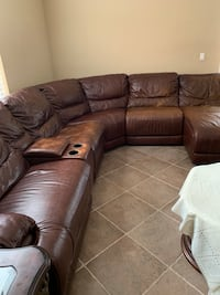 Brown leather sectional + sofa and pillows Fort Myers, 33913