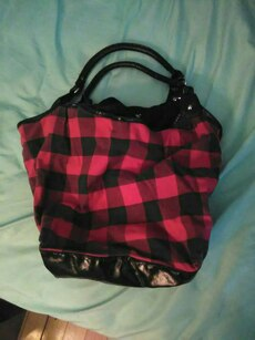 women's black and red plaid tote bag