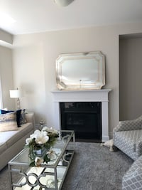 Gorgeous mirror just out of the box . Large!! Very heavy piece beveled edges three dimensional appearance on frame. So unique.  Niagara-on-the-Lake, L0S
