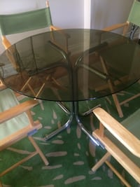 1970s glass and chrome table CHATHAM