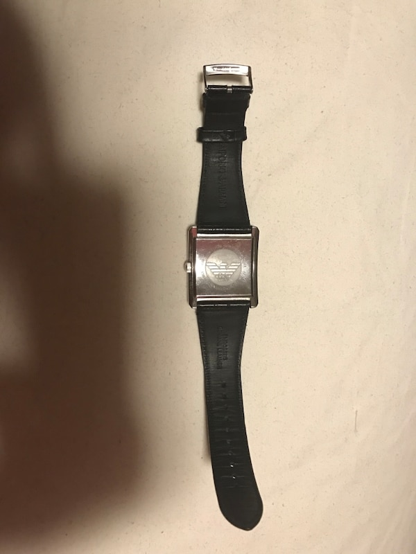 EMPORIO ARMANI square silver analog watch with black strap leather dad5105a-7f90-43f7-8b62-d86256c574b5