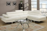 white leather sectional couch with ottoman Las Vegas
