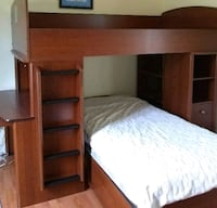 brown wooden bunk bed with mattress Brampton, L6Y 0C3