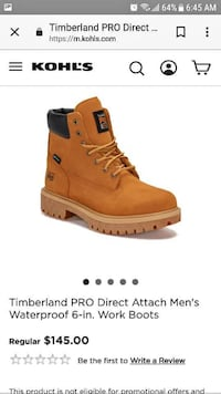 unpaired brown Timberland work boot screenshot Frederick