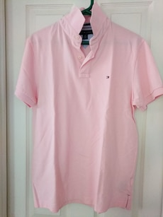Men's Pink Tommy Polo Shirt Size: M