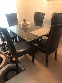 Black brown leather and wood 7 piece dining table set Ajax