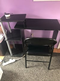 Black and gray computer desk with chair Ronkonkoma, 11779