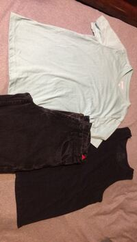 Boys clothing- size 16 , 1 pair black jeans, mint colored Arizona t shirt, 1 black wife beater
