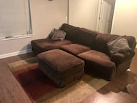 brown suede sectional couch and ottoman 51 km