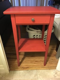 Red wooden single-drawer end table Huntington Beach, 92647