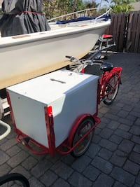 Red and white cargo trike