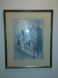 white house painting with brown frame