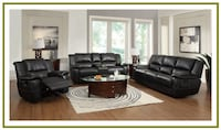 Black Leather Sofa and Love Seat Recliner Irving