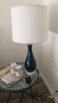 West elm blue lamp marble  base shade table lamp