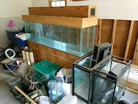 brown wooden framed clear glass fish tank Lilburn, 30047