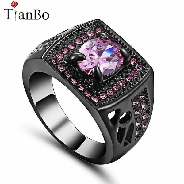 black ring with clear purple gemstone