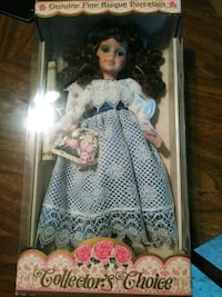 porcelain doll in blue and white dress Toney, 35773