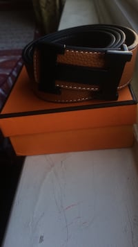 brown Hermes leather belt with box