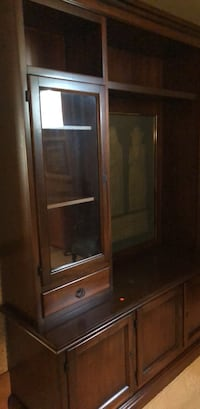 brown wooden framed glass display cabinet 3140 km