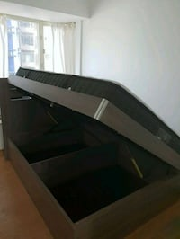 grey double bed with storage (includes matress)