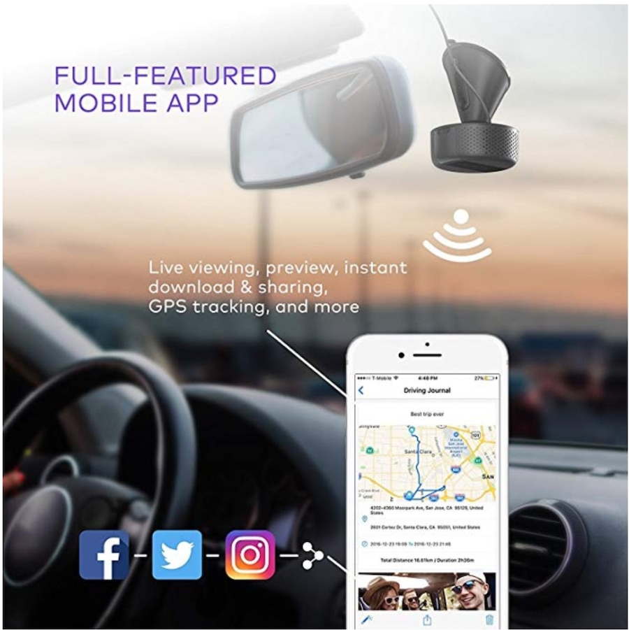 360/° Swivel View Night Vision with Sony IMX291 Sensor VAVA Dash Cam with Feature-Rich App GPS /& Snapshot Button Included G-Sensor