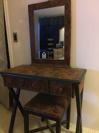 brown wooden vanity table with mirror VANCOUVER